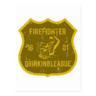 Liga de consumición del bombero tarjeta postal