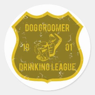Liga de consumición del Groomer del perro Etiquetas Redondas