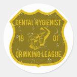 Liga de consumición del higienista dental pegatinas redondas