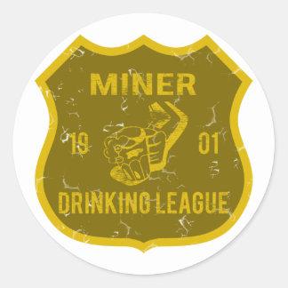 Liga de consumición del minero etiquetas redondas