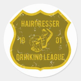 Liga de consumición del peluquero pegatina redonda