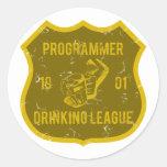Liga de consumición del programador etiquetas redondas