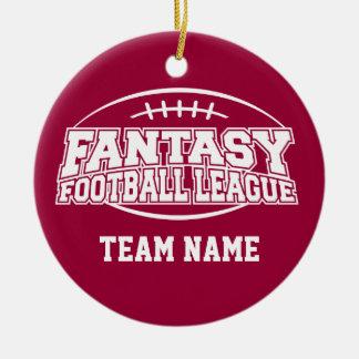 Liga de fútbol de la fantasía adorno navideño redondo de cerámica