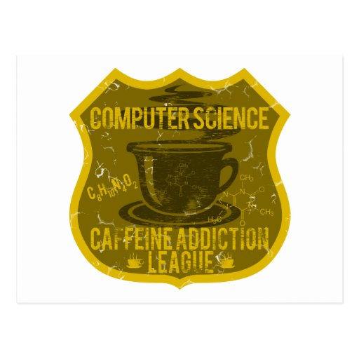 Liga de informática del apego del cafeína tarjetas postales