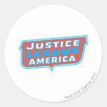 Liga de justicia del logotipo de América Etiquetas Redondas