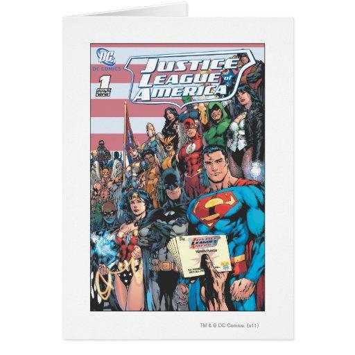 Liga de justicia del primer problema de América Tarjeton