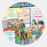 Liga de justicia del problema #28 - junio de etiquetas redondas