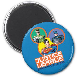 """Liga de justicia """"fuerza en números """" imán redondo 5 cm"""