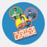 "Liga de justicia ""fuerza en números "" pegatina redonda"