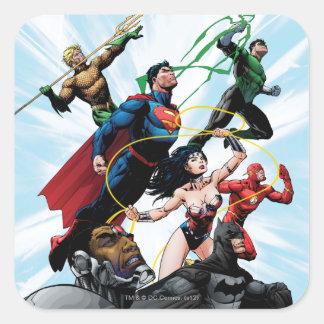 Liga de justicia - grupo 1 pegatinas cuadradas