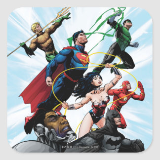 Liga de justicia - grupo 1 pegatina cuadrada