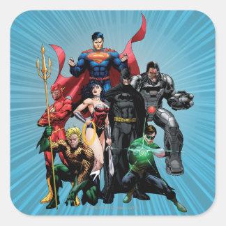 Liga de justicia - grupo 2 pegatina cuadrada