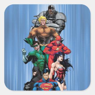 Liga de justicia - grupo 3 calcomanias cuadradas
