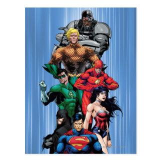 Liga de justicia - grupo 3 tarjeta postal