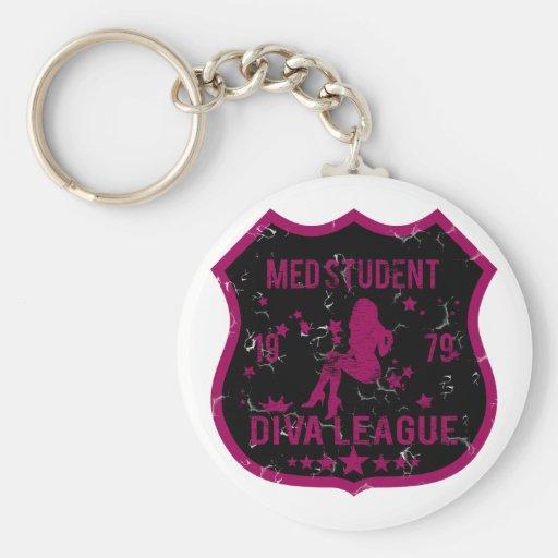Liga de la diva del estudiante del MED Llavero Redondo Tipo Pin