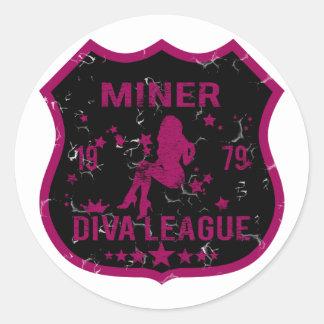 Liga de la diva del minero etiquetas redondas