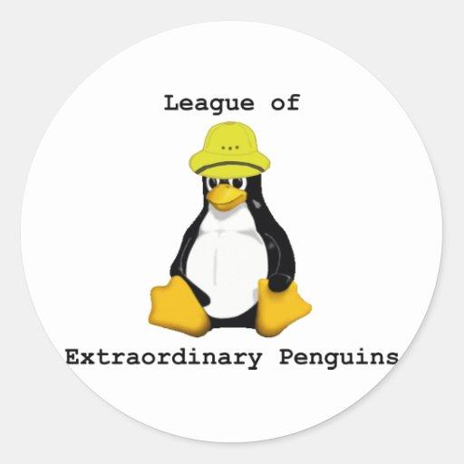Liga de los pingüinos extraordinarios 2 pegatina redonda
