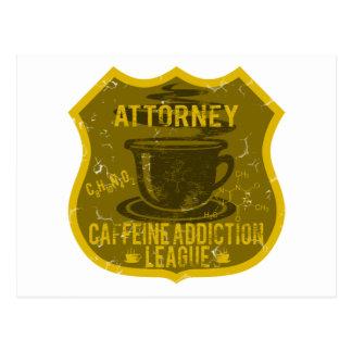 Liga del apego del cafeína del abogado tarjetas postales