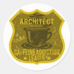 Liga del apego del cafeína del arquitecto pegatina redonda