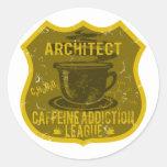 Liga del apego del cafeína del arquitecto pegatinas redondas