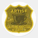 Liga del apego del cafeína del artista pegatina redonda