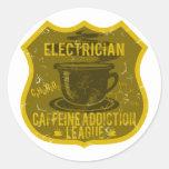Liga del apego del cafeína del electricista etiquetas redondas