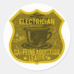 Liga del apego del cafeína del electricista pegatinas redondas
