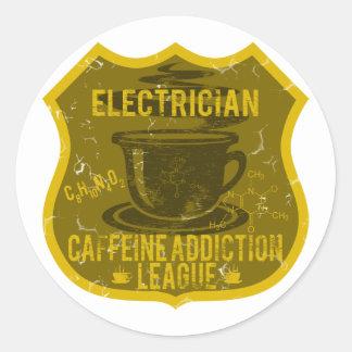 Liga del apego del cafeína del electricista pegatina redonda