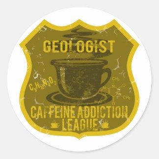 Liga del apego del cafeína del geólogo pegatina redonda