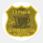 Liga del apego del cafeína del granjero pegatina redonda