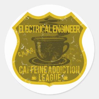 Liga del apego del cafeína del ingeniero eléctrico etiquetas redondas