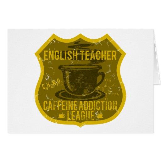 Liga del apego del cafeína del profesor de inglés tarjeta