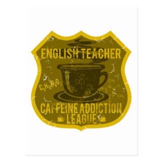 Liga del apego del cafeína del profesor de inglés postales