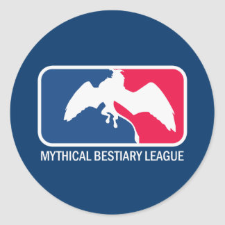 Liga del bestiario, monstruos míticos etc. etiqueta redonda