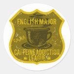 Liga importante inglesa del apego del cafeína pegatina redonda