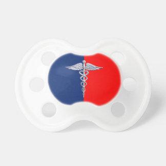 Liga médica del símbolo del caduceo de plata del chupete de bebe