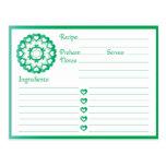 Ligado por la tarjeta de la receta del verde del postales