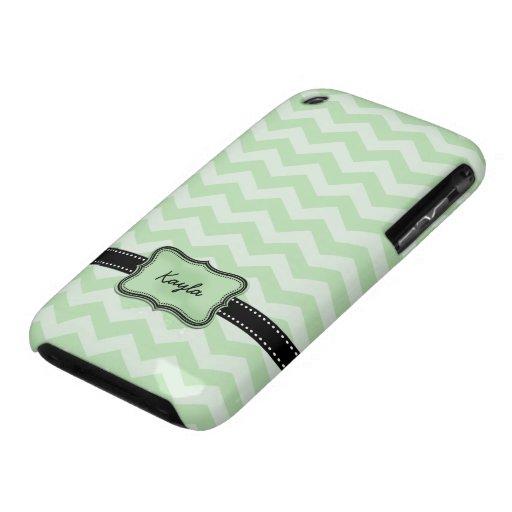 Ligamaza personalizada y verde menta Chevron iPhone 3 Case-Mate Carcasa