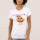 Ligará para los regalos - polluelo lindo de Santa Camiseta
