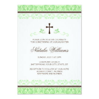 Ligh green brown lace girls baptism or christening card