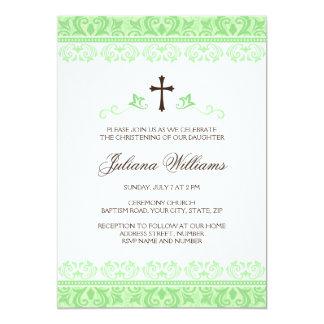 Ligh green damask girls baptism or christening card