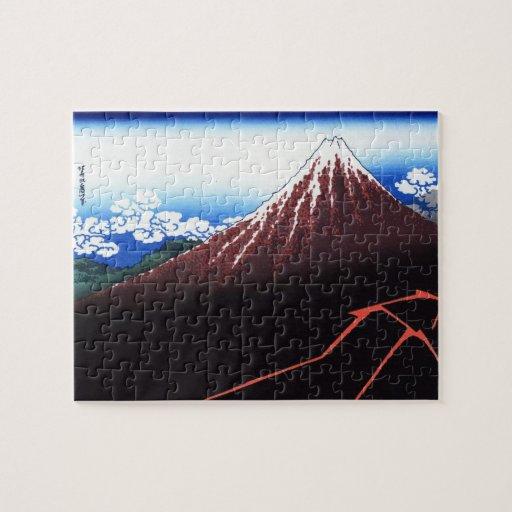 Lighning en la impresión clásica del japonés del m rompecabezas con fotos