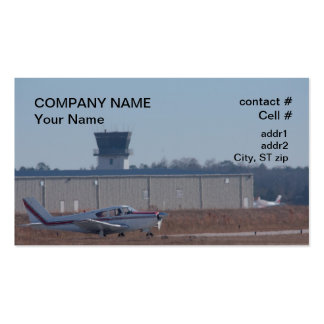 light aircraft awaiting takeoff business card