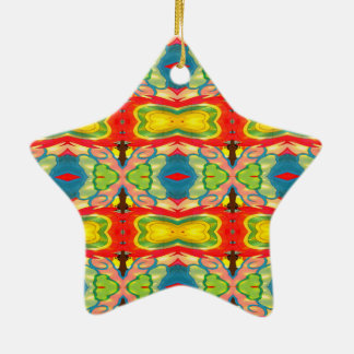 Light and Airy Vibrant Colorful Pattern Ceramic Ornament
