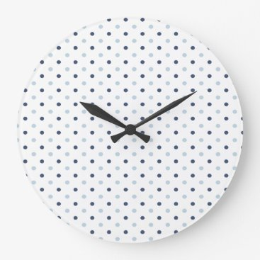 Beach Themed Light and Dark Blue Polka Dots Large Clock