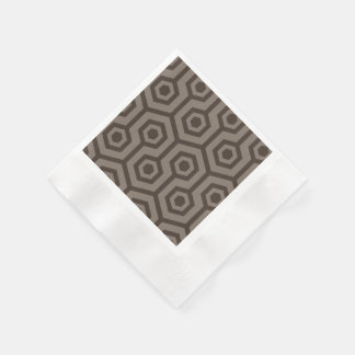 Light and dark brown hexagons coined cocktail napkin