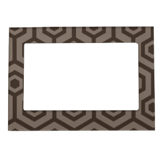 Light and dark brown hexagons magnetic photo frame