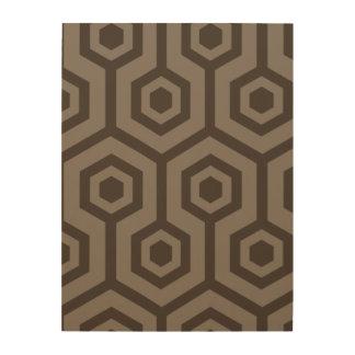 Light and dark brown hexagons wood wall art