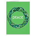 Light and Dark Green Circular Knotwork Greeting Card