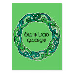 Light and Dark Green Circular Knotwork Postcard